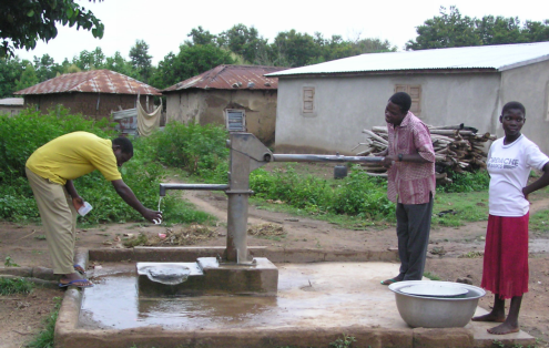 Testing well water in Benin.